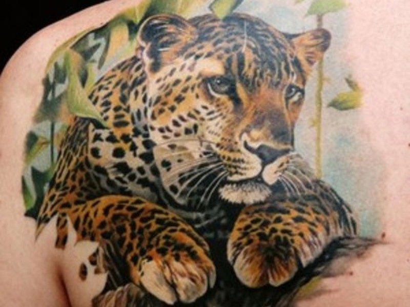 beautiful leopard tattoo on shoulder blade tattoos book tattoos designs. Black Bedroom Furniture Sets. Home Design Ideas