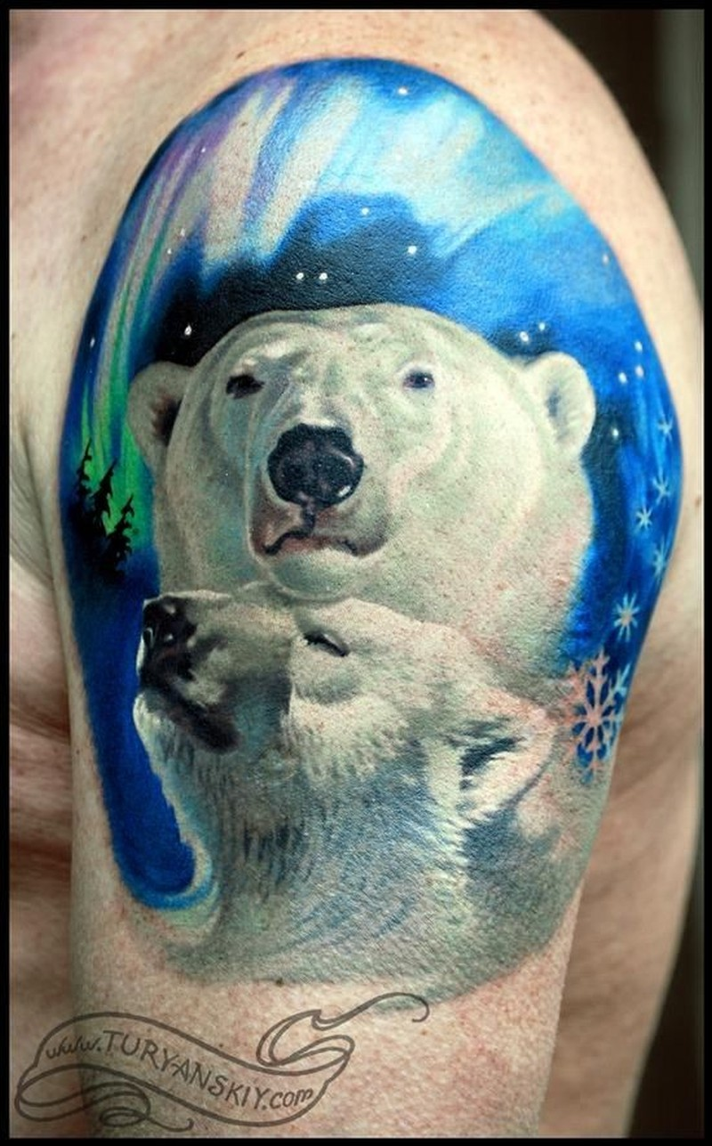 Beautiful polar bears tattoo on half sleeve by Turyanskiy