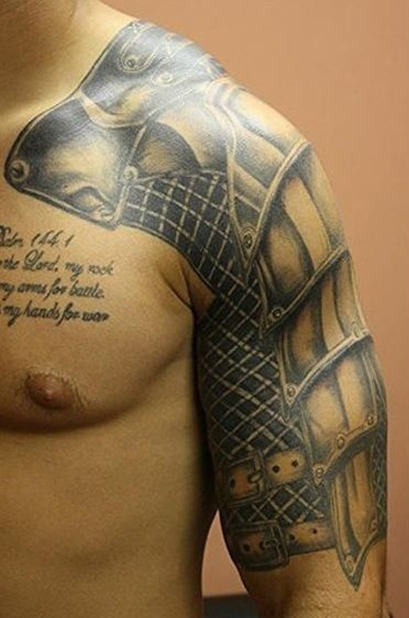 Beautiful realistic armor tattoo on shoulder tattoos for Where can i get free tattoos