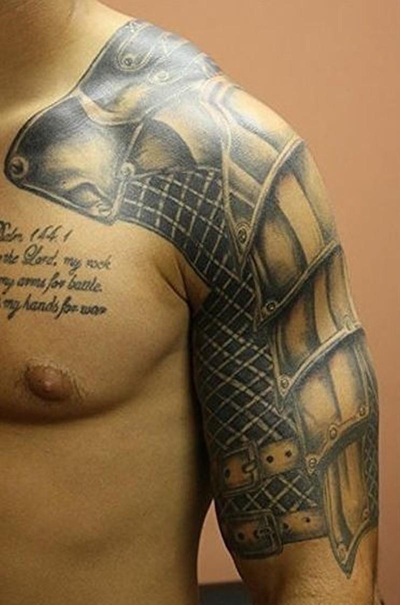 Beautiful Realistic Armor Tattoo On Shoulder Tattoos Book