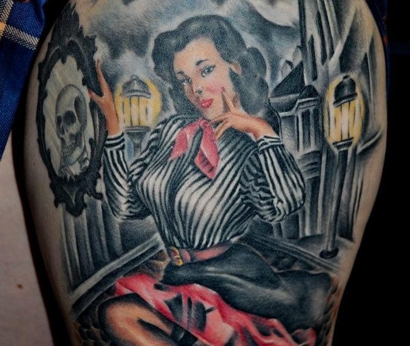 Beautiful vintage pin up tattoo on thigh by Benjamin Laukis