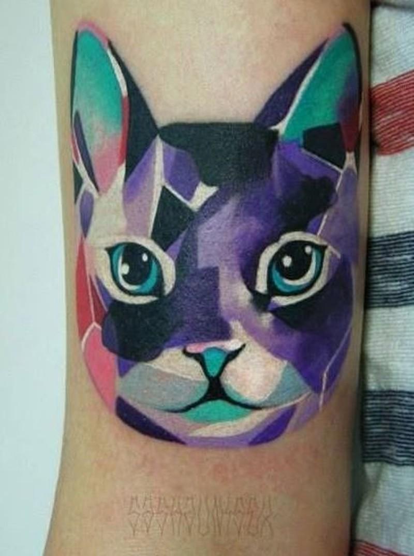 Beautiful watercolor cat tattoo on arm tattoos book 65 for Watercolor cat tattoo