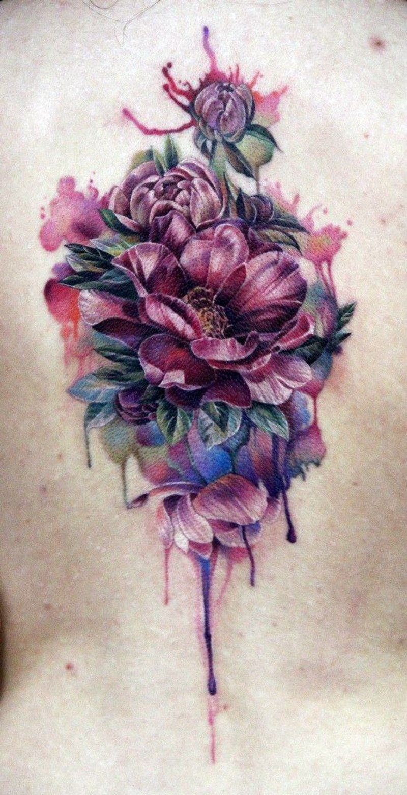 beautiful watercolor flowers tattoo on back tattoos book tattoos designs. Black Bedroom Furniture Sets. Home Design Ideas