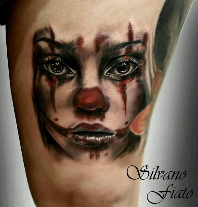 Beautiful watercolor women clown tattoo