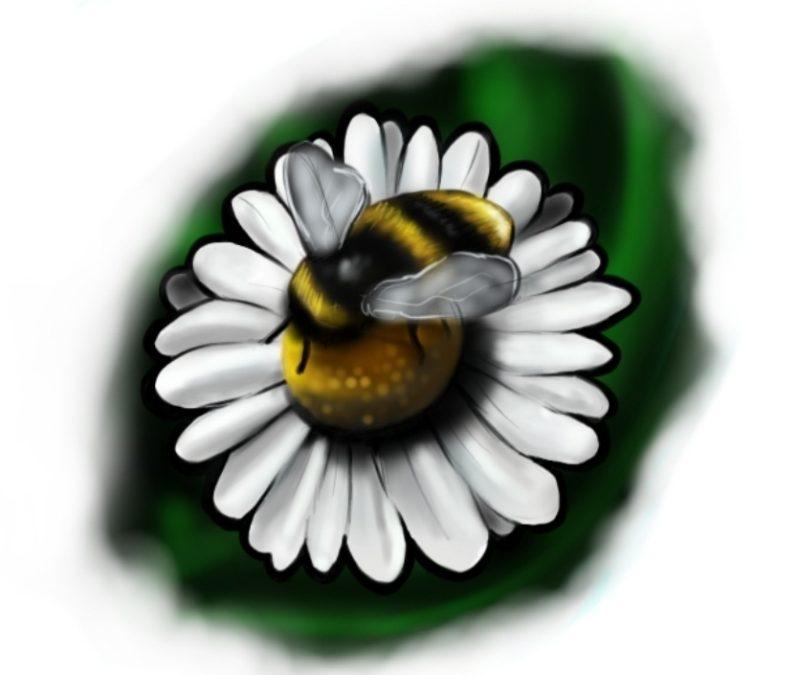 Bee flower amazing tattoo design