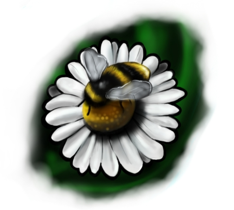 Bee flower amazing tattoo design