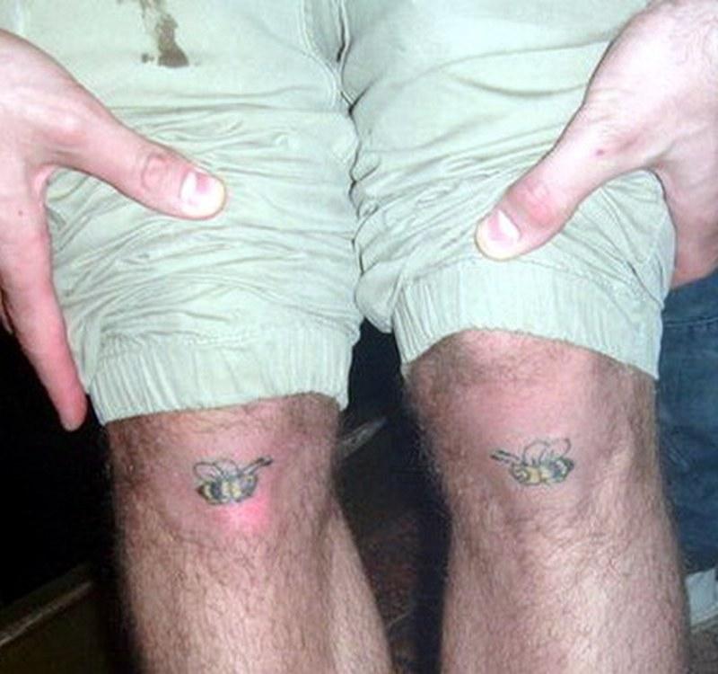 Bees tattoo on knees