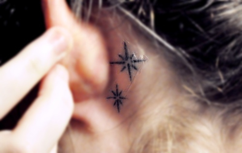 Behind Ear Stars Tattoo Design Tattoos Book 65 000 Tattoos Designs