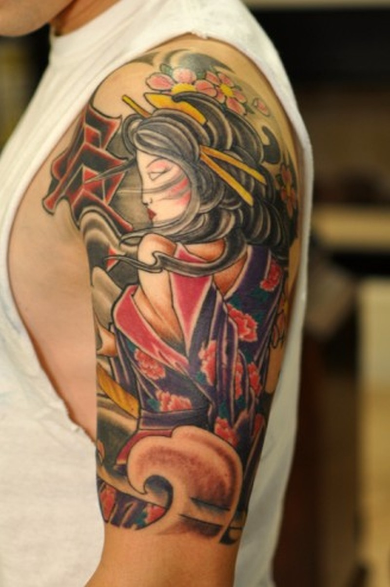 Best geisha tattoo design on shoulder