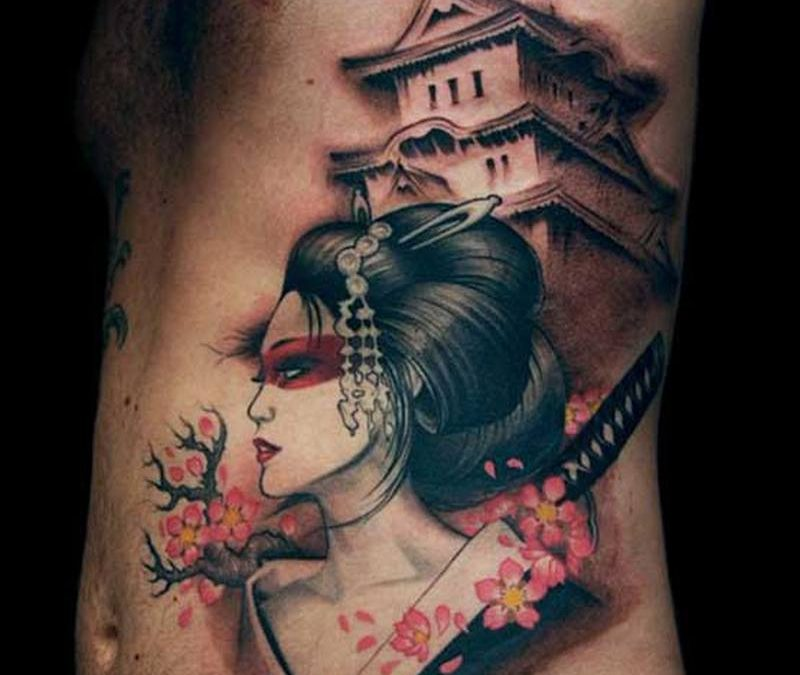 Best japanese geisha tattoo on ribs