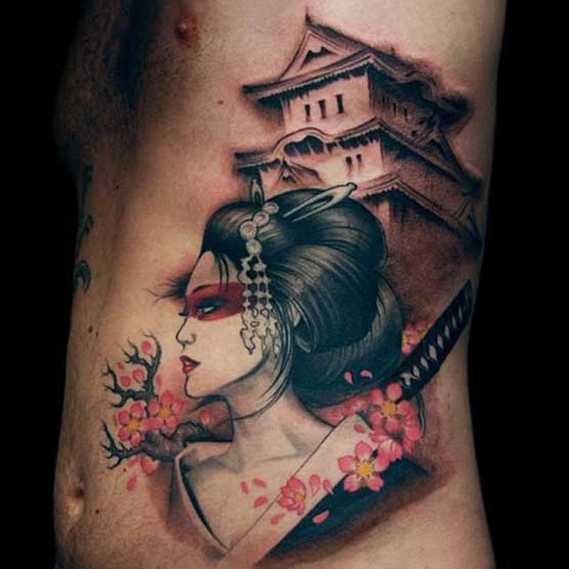 Best japanese geisha tattoo on ribs