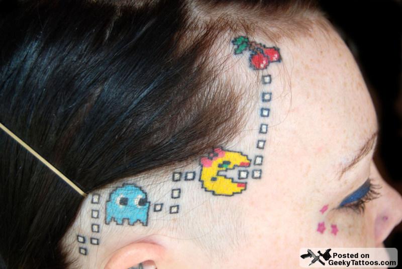 Best pacman tattoo on head