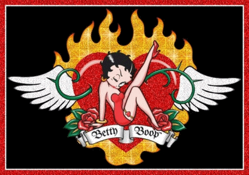 Betty boop heart tattoo graphic