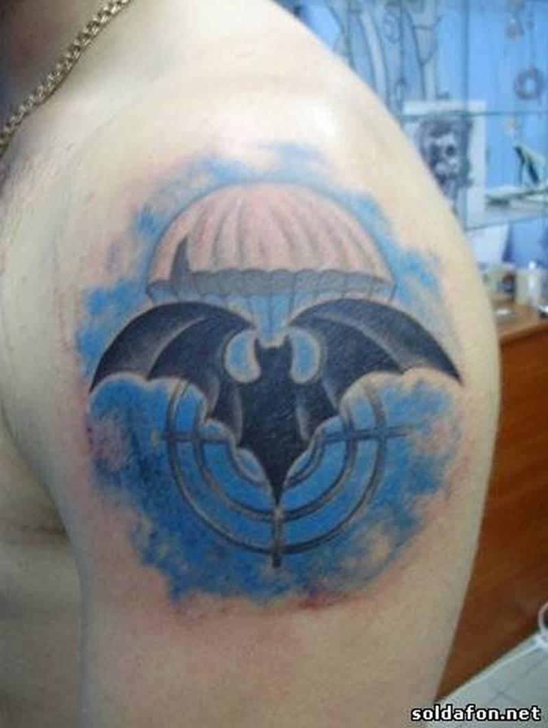 Biceps bat tattoo design