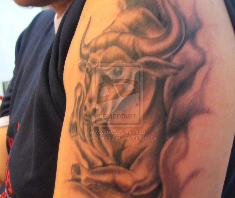 Biceps bull tattoo for men