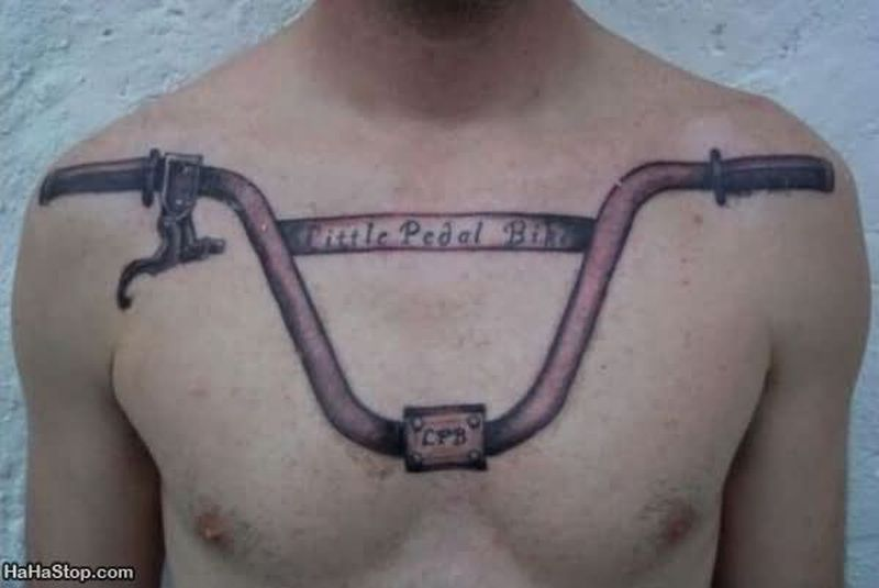 Bicycle handel tattoo on chest
