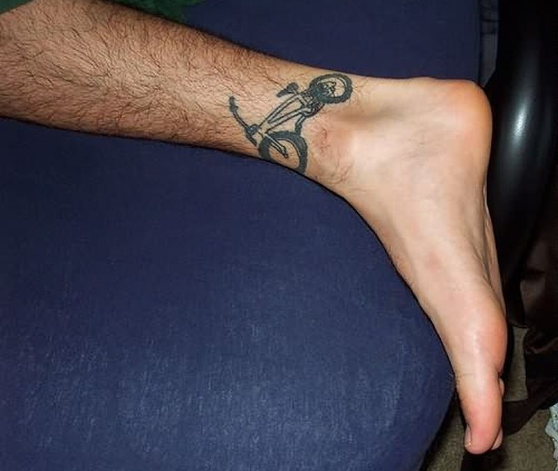 Bicycle tattoo on ankle 2