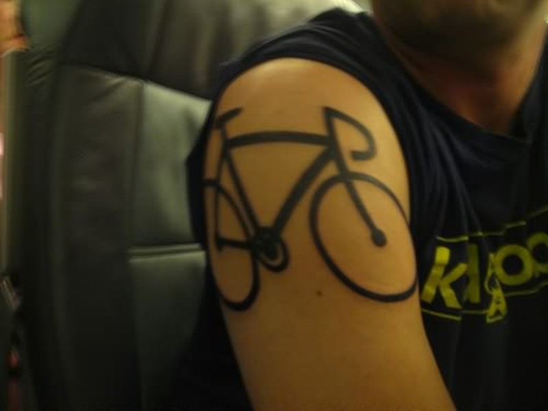 Bicycle tattoo on shoulder