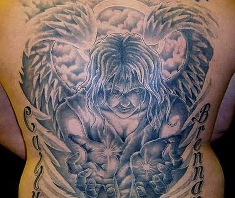 Big alien angel tattoo on back