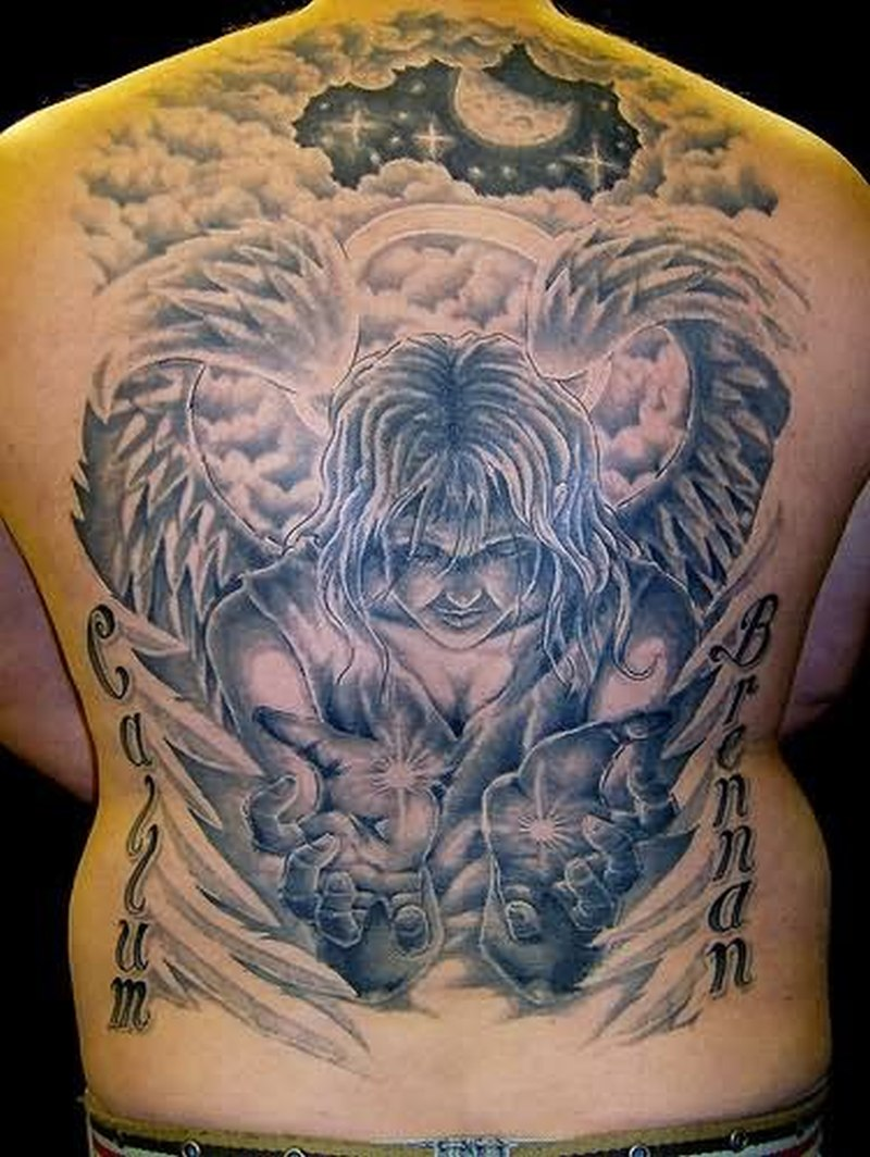 Big alien angel tattoo on back