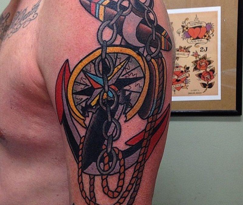 Big anchor compass tattoo design