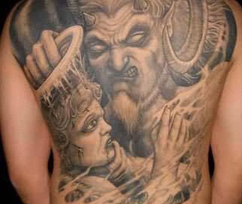 Big angel tattoo for back