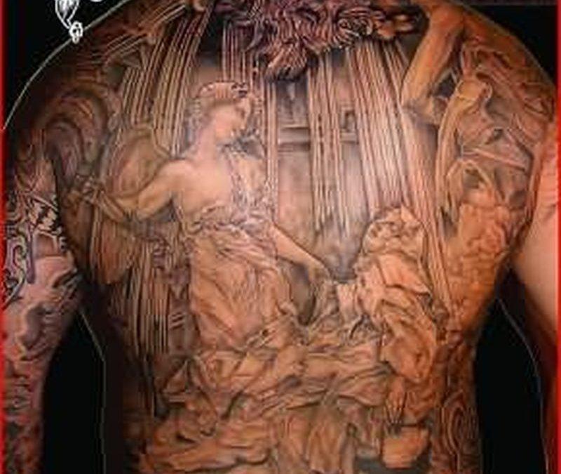 Big angel tattoo on back