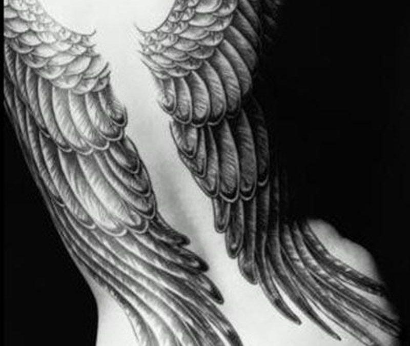 Big angel wings tattoo design on back