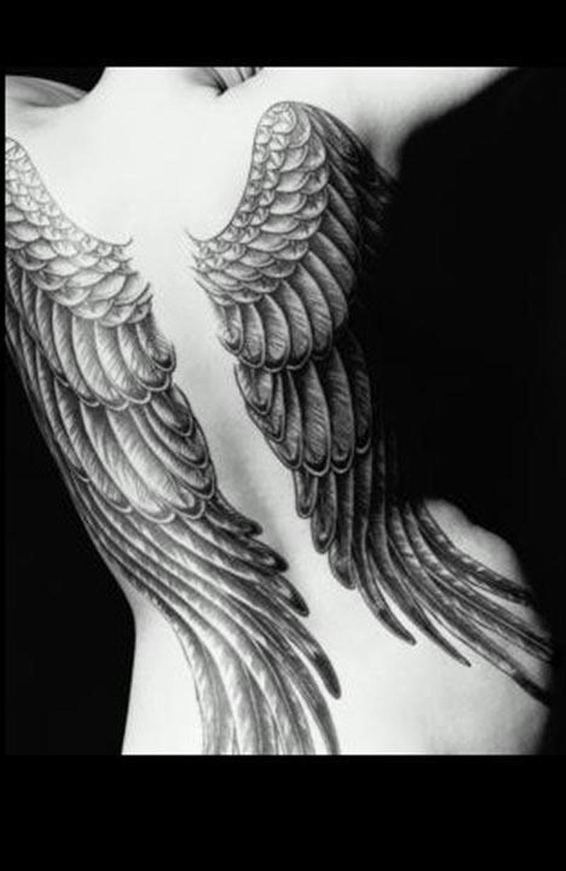 Big angel wings tattoo design on back