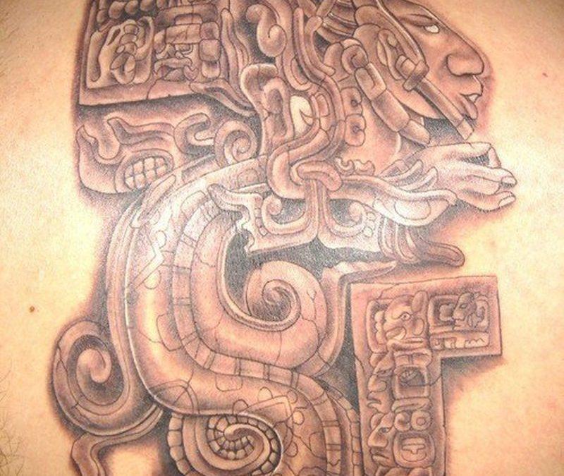 Big aztec tattoo design on back for men