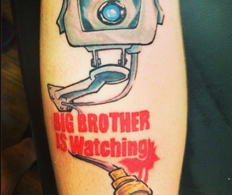 Big brother is watching funny camera color tattoo