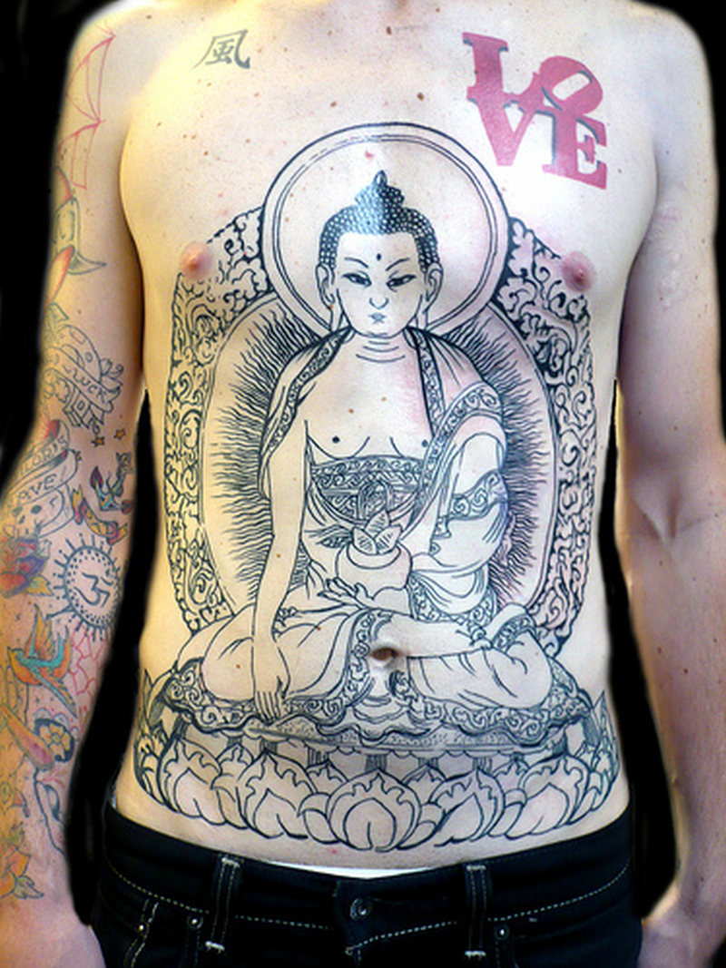 Big buddha belly button tattoo design