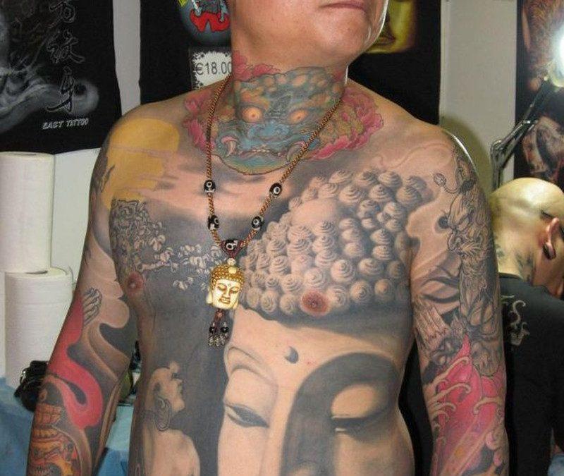 Big buddha head tattoo for men