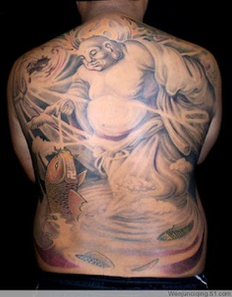 Big buddha with koi fish tattoo on back