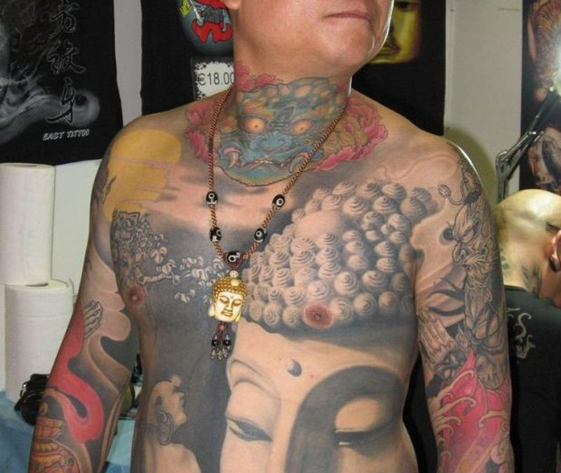 Big buddhist tattoo for men