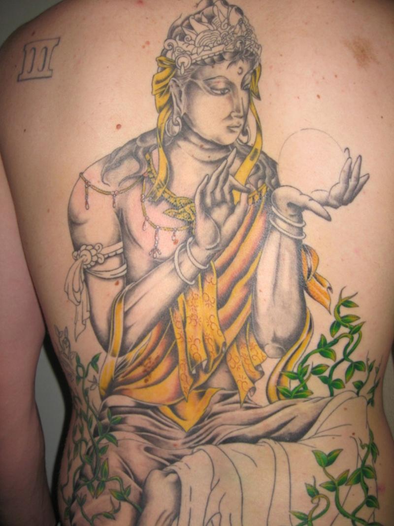Big buddhist tattoo on shoulder back