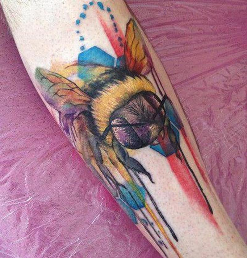 Big bumblebee on forearm 1 tattoo