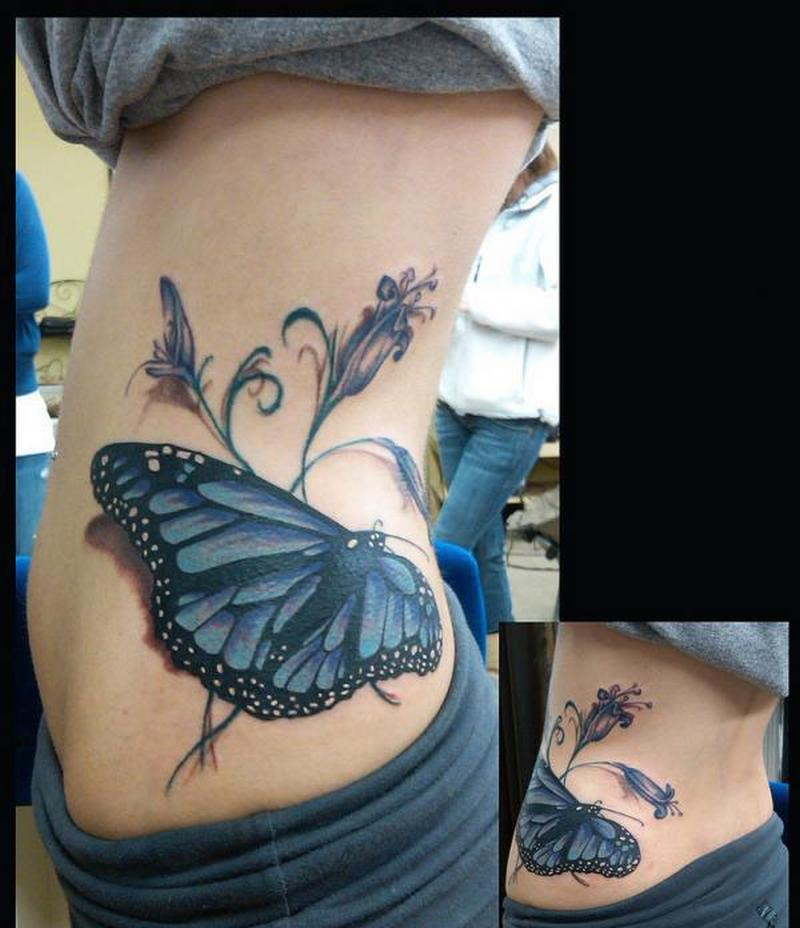 big butterfly tattoo on waist tattoos book tattoos designs. Black Bedroom Furniture Sets. Home Design Ideas
