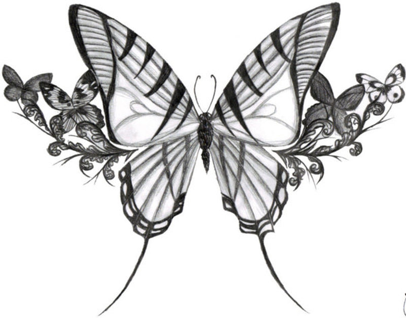 135c64f81 Big butterfly with flowers tattoo design - Tattoos Book - 65.000 ...