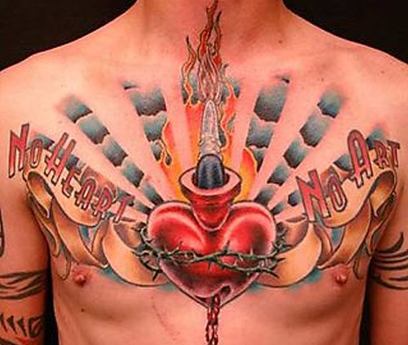 Big claddagh tattoo on chest