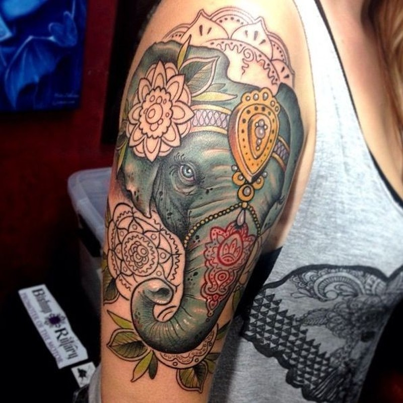 Big colored elephant head tattoo on half sleeve