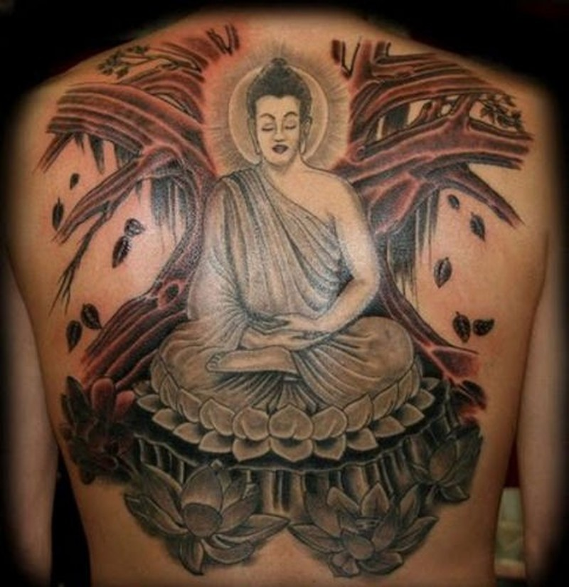 5dff5693eaf3f Big coloured meditating buddha tattoo on back - Tattoos Book ...