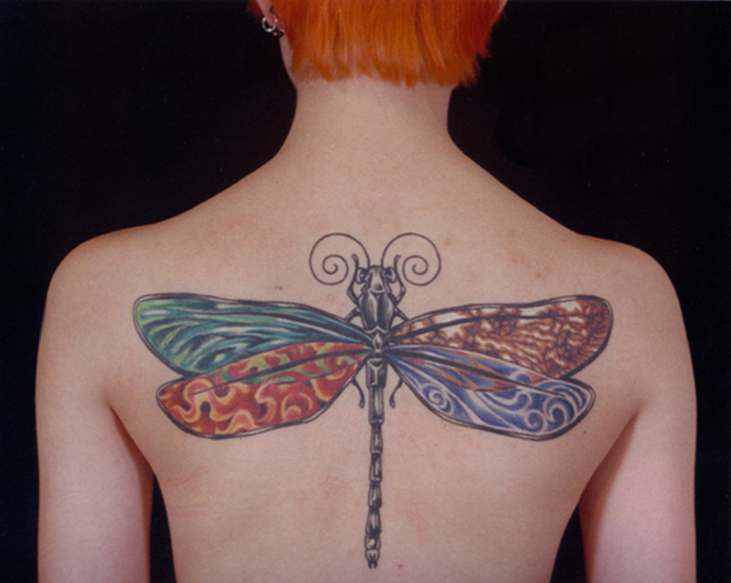 Big dragonfly hippie tattoo design on back
