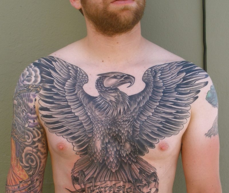 Big eagle tattoo design on chest