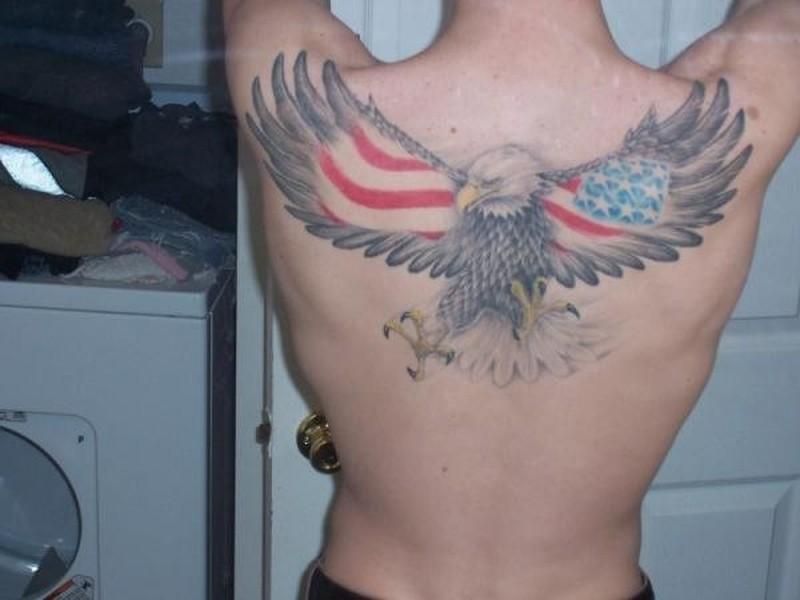 2eb5ebc7b55a6 Big flying eagle with flag usa on wings tattoo on back - Tattoos ...