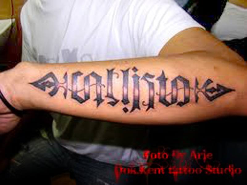 Big forearm ambigram tattoo designs