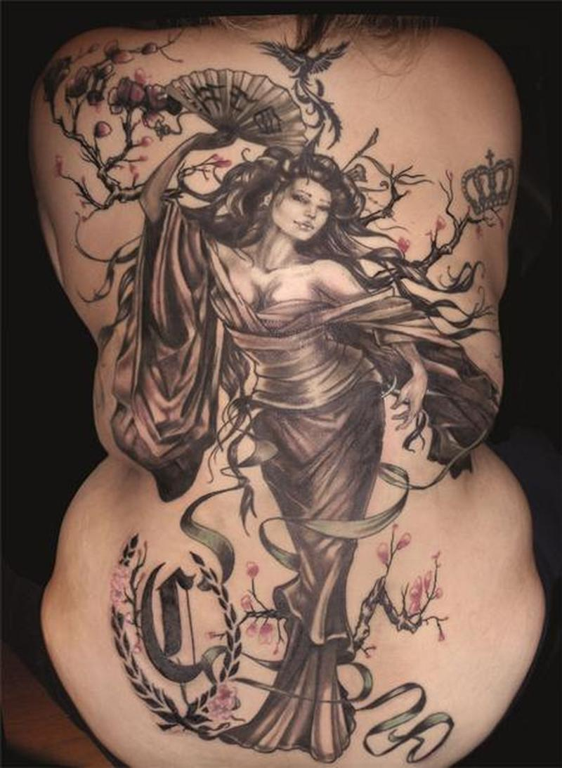 Big geisha tattoo on back body 2