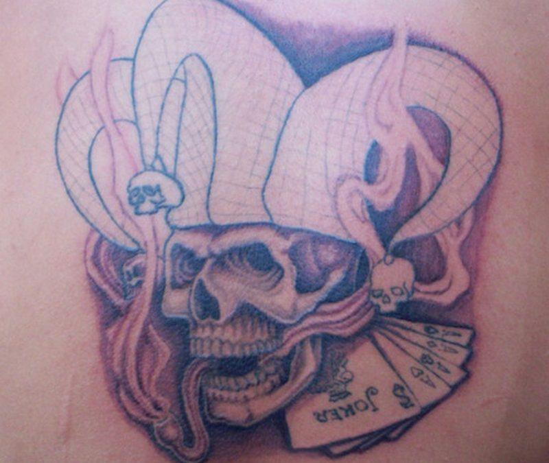 Big hat joker skull tattoo design