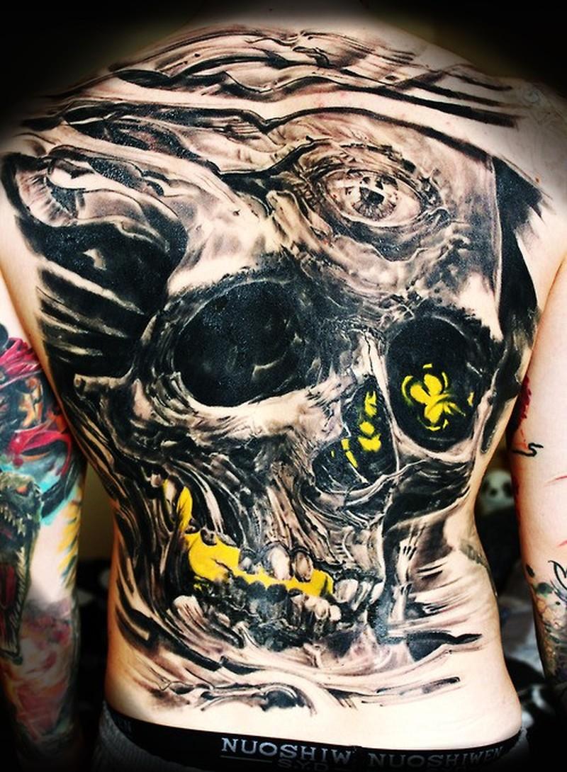 big horrendous black skull tattoo on back tattoos book tattoos designs. Black Bedroom Furniture Sets. Home Design Ideas