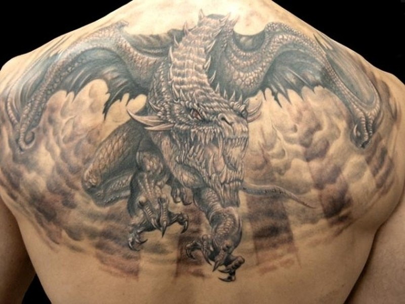 big horrendous flying dragon tattoo on back tattoos book tattoos designs. Black Bedroom Furniture Sets. Home Design Ideas